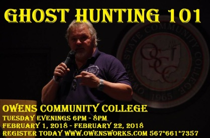 Ghost Hunting 101 flyer Spring 2018